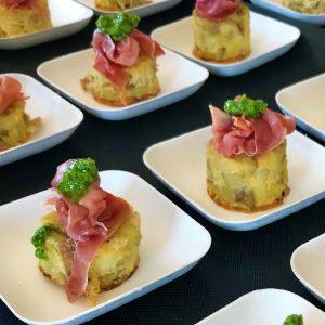 Hapjesbuffet - tortilla met rauwe ham en pesto